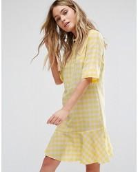 Vestido de cuadro vichy amarillo de Paul Smith