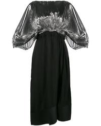 Vestido de cuero plisado negro de Loewe