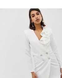 Vestido de esmoquin blanco de River Island