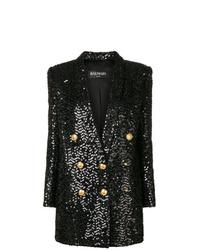 Vestido de esmoquin de lentejuelas negro de Balmain