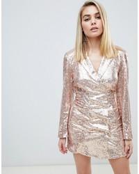 Vestido de esmoquin de lentejuelas rosado de Club L