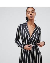 Vestido de esmoquin de rayas verticales en negro y blanco de Boohoo