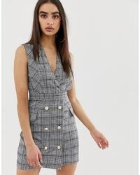 Vestido de esmoquin de tartán gris de Girl In Mind