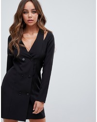 Vestido de esmoquin negro de PrettyLittleThing