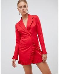 Vestido de esmoquin rojo de Missguided