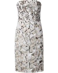 Vestido de fiesta con adornos plateado de J. Mendel
