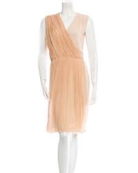Vestido de fiesta de gasa marrón claro