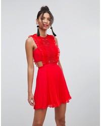 Vestido de fiesta de gasa rojo de Asos