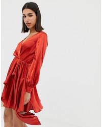 Vestido de fiesta de satén rojo de ASOS DESIGN