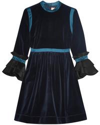 Vestido de Fiesta de Terciopelo Azul Marino de Roksanda