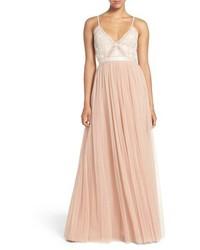 Vestido de noche bordado rosado