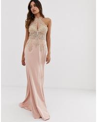 Vestido de noche con adornos rosado de Jovani