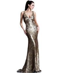 Vestido de noche con cuentas dorado