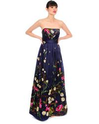 Vestido de noche con print de flores azul marino