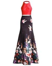 Vestido de Noche con print de flores Morado Oscuro de Luxuar Fashion