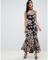 Vestido de noche con print de flores negro de ASOS DESIGN
