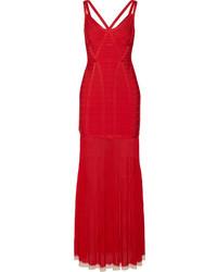 Vestido de Noche con Recorte Rojo de Herve Leger