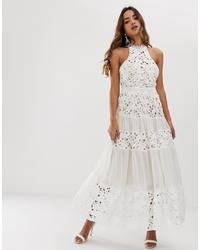 Vestido de noche de encaje bordado blanco de Forever U