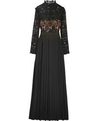 Vestido de Noche de Encaje Bordado Negro de Self-Portrait