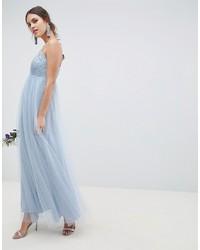 Vestido de noche de encaje celeste de ASOS DESIGN