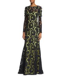 Vestido de noche de encaje con adornos negro