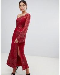 Vestido de noche de encaje rojo de Bariano