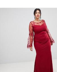 Vestido de noche de encaje rojo de City Goddess Plus