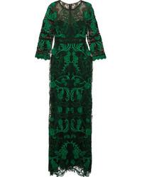 Vestido de noche de encaje verde oscuro
