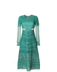 Vestido de Noche de Encaje Verde de Three floor