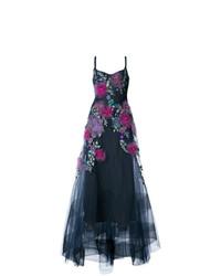 Vestido de Noche de Flores Azul Marino de Marchesa Notte