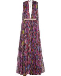 Vestido de Noche de Gasa Estampado Rosa de Matthew Williamson