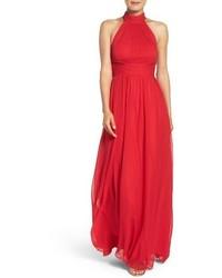 Vestido de noche de gasa rojo