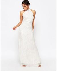 Vestido de noche de lentejuelas blanco de Glamorous