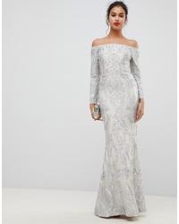 Vestido de noche de lentejuelas con adornos plateado de Bariano
