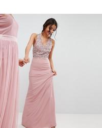 Vestido de noche de lentejuelas con adornos rosado