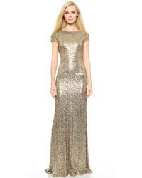 Vestido de Noche de Lentejuelas Dorado de Badgley Mischka