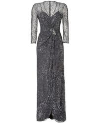 Vestido de noche de lentejuelas en gris oscuro