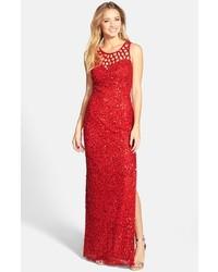 Vestido de noche de lentejuelas rojo