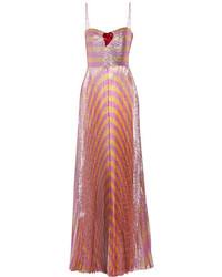 Vestido de noche de rayas horizontales rosa de Gucci