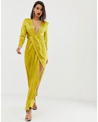Vestido de noche de satén con recorte en amarillo verdoso de ASOS EDITION