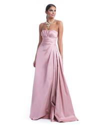 Vestido de noche de satén plisado rosado