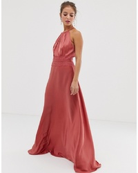 Vestido de noche de satén rojo de Little Mistress