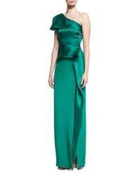 Vestido de noche de satén verde