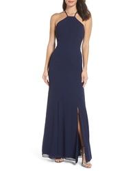 Vestido de noche de seda con recorte azul marino