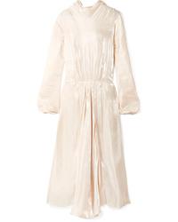 Vestido de noche de seda con volante en beige de Prada