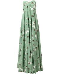 Vestido de noche de seda estampado en verde menta de Valentino