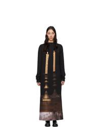 Vestido de noche de seda estampado negro de S.R. STUDIO. LA. CA.