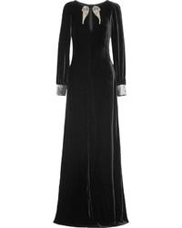Vestido de noche de terciopelo con adornos negro
