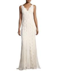 Vestido de noche de tul bordado blanco