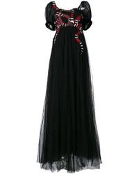 Vestido de noche de tul bordado negro de Gucci